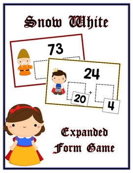 Snow White Expanded Form Math File Folder Game Place Value Tens & Ones