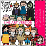 Snow White clip art - LINE ART- by Melonheadz