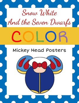 Snow White Mickey Head Color Posters