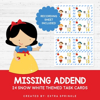 Disney Inspired Snow White Missing Addend Task Cards