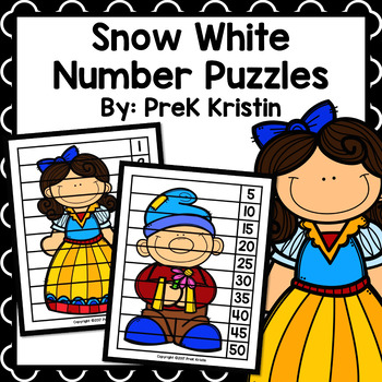 Snow White (Fairy Tale) Skip Counting Number Puzzles