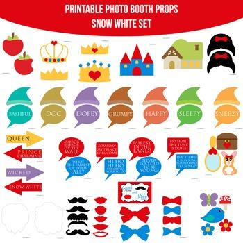 photo regarding Snow White Printable identified as Snow White Printable Photograph Booth Prop Established