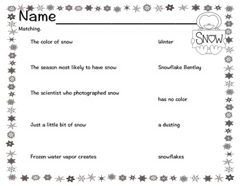 Snow, Why Does it Snow? Reader, Comprehension Questions, Foldable and More!!