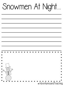 Snow Woman & Snowman Writing Prompts & Craftivity