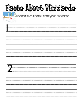 Snow Writing Research Graphic Organizer