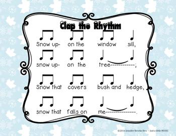 Snow - a winter folk song to prepare, present & practice ta-ah (half note)