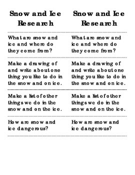 Snow and Ice Research Booklet