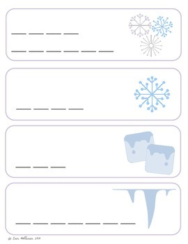 Snow and Ice Vocabulary Cards and Spelling Practice