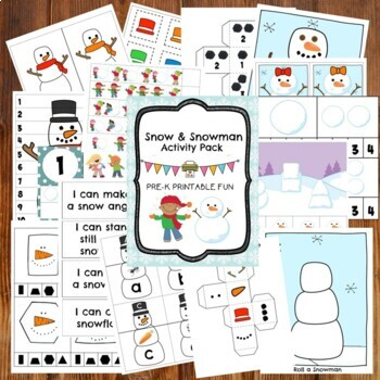 Snow and Snowman Themd Preschool Activities and Centers