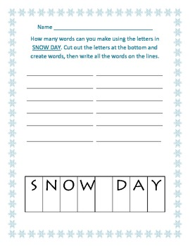 Snow day words