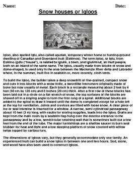 Snow houses or Igloos Description/Article Reading and Homework Assignment