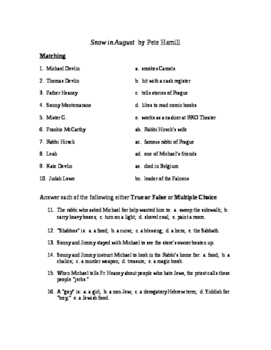 Snow in August Reading Check Test/Quiz