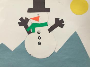 Snow man winter scene craft template