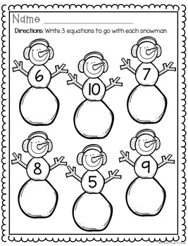 Snowman Language Arts, Math and Art Activities