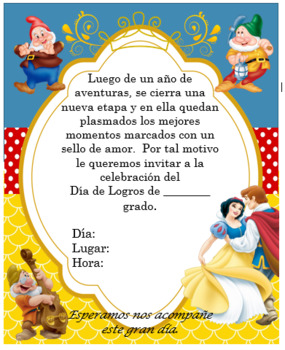 Snow white invitation Editable!!!!