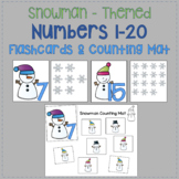 Number Flashcards 1-20 (Snowman Themed)