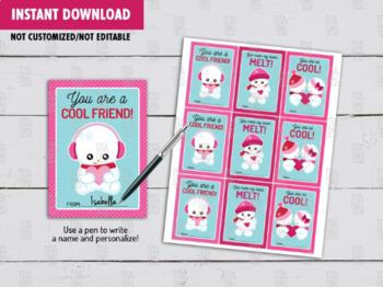 Snowbabies Valentine's Day Card DIY Printable, Cool Friend School Exchange Tags