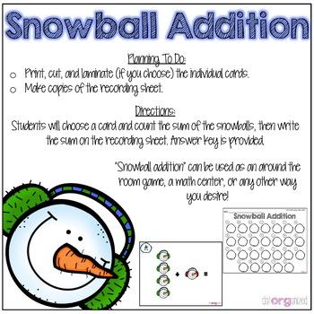 Addition to 5 Kindergarten January Math Center Task Cards