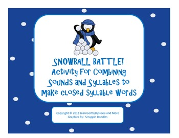 Snowball Battle!  Activity for Combining Sounds and Syllables
