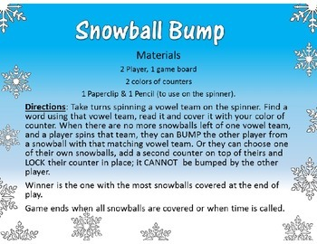 Snowball Bump Literacy Center Game Long Vowel OA and OW Word Fluency Practice