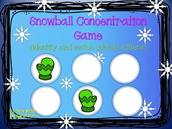 Snowball Concentration Game (identify and match colored mittens)