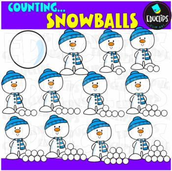 Snowball Counting Clip Art Bundle  {Educlips Clipart}