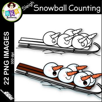 Snowball Counting Clip Art ● Counting Numbers 0-10 ● Winter Clip Art