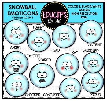 Snowball Emoticons Clip Art Bundle  {Educlips Clipart}