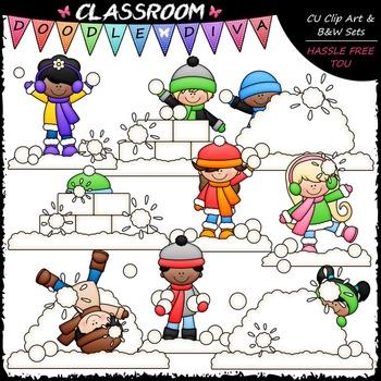 Snowball Fight Clip Art - Snowball Fight Kids Clip Art
