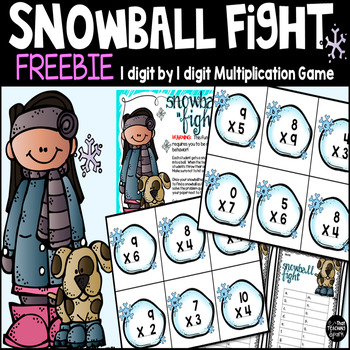 Snowball Fight 1 digit by 1 digit Multiplication Game Freebie