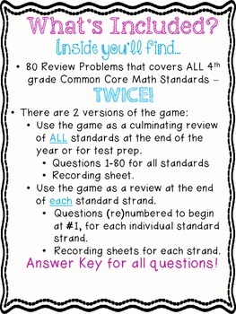 4th Grade Common Core Math Review for All Standards (Snowball Fight!)