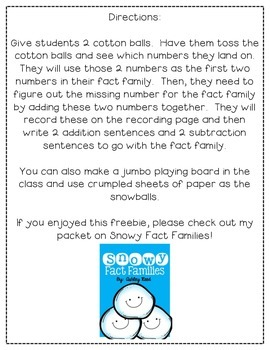 Snowball Fight:  A Fact Families Freebie