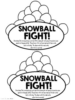 Snowball Fight! {A Speech and Language Activity}