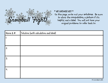 Snowball Fight!  A Word Problem Game