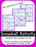 Snowball Fight Activity Cards!