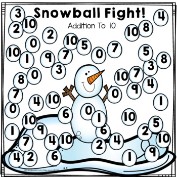 Snowball Fight: Addition And Subtraction Cover-Up Equations 10 To 20