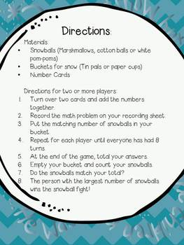 Snowball Fight!  Math Addition Game ~ K/2