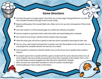 4.4A Snowball Fight: Addition & Subtraction of whole numbers & Decimals