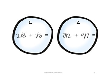"""""""Snowball Fight"""" All Operations Fraction and Mixed Number Review"""
