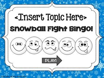Bingo Game Template: Snowball Fight