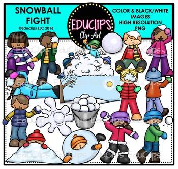 Snowball Fight Clip Art Bundle {Educlips Clipart}