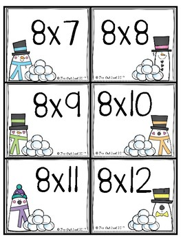 Snowball Fight Multiplication Facts Partner Game