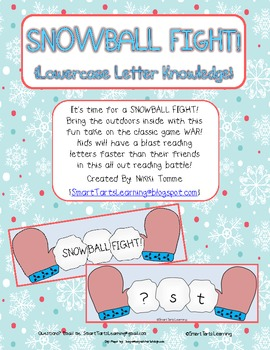Snowball Fight Reading Game {missing LOWERCASE letter version}