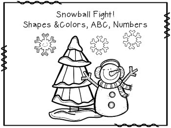 Snowball Fight Shapes, Numbers, and Letters Freebie