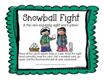 Snowball Fight Sight Word Game