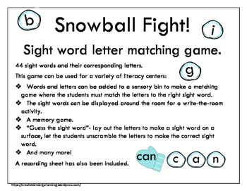 Snowball Fight! Sight Word Letter Matching Game