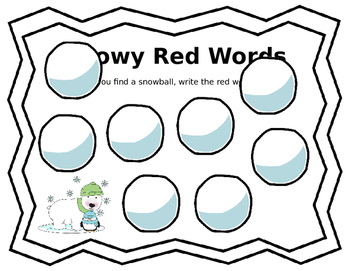 Snowball Fight- Sight Words