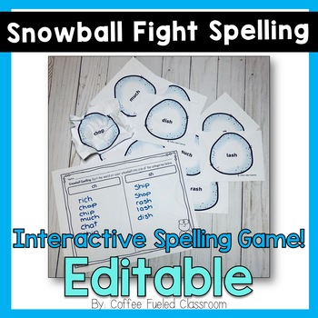 Snowball Fight Spelling Game - EDITABLE