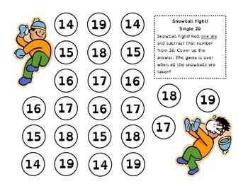 Snowball Fight - Take Away Math Games