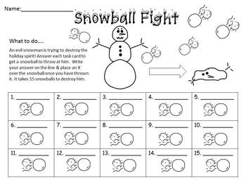 Snowball Fight Word Problem Task Cards